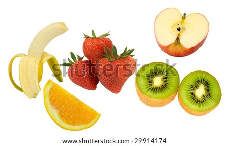 HEALTHY BUNCH!APPLE,BANANA,KIWI,ORANGE,STRAWBERRY ON A WHITE BACKGROUND