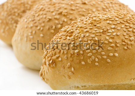 Healthy buns isolated on white background