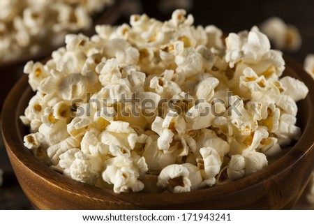 Healthy Buttered Popcorn with Salt in a Bowl - stock photo