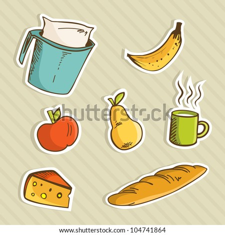 Healthy cartoon food for breakfast: apple, banana, pear, milk cup, cheese and bread.