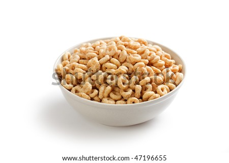 healthy cereal rings in bowl - stock photo