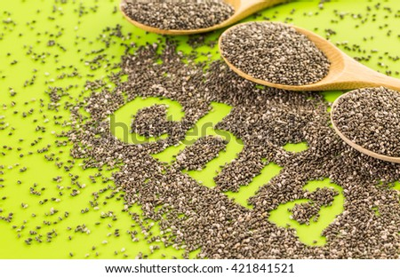 Healthy Chia seeds with shia sign close-up.