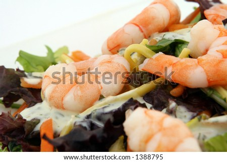 Healthy Chinese - Asian King prawn shrimp salad, consisting of noodles, peppers, lettuce and sauce on white, macro, closeup - stock photo