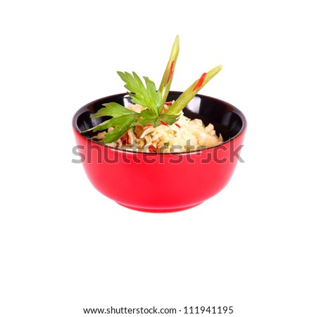 Healthy Chinese food in a red plate isolated on a white background