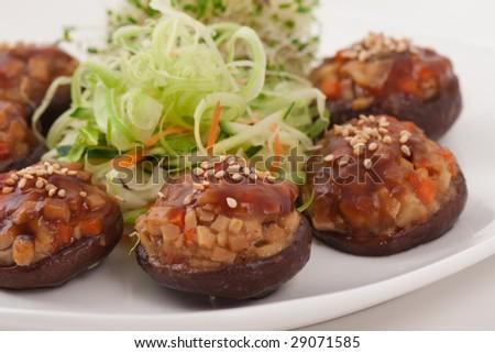 Healthy Chinese Vegetarian Mushroom Dish, Shallow Depth of Field - stock photo