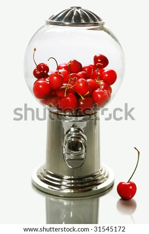Healthy choice (glass snack dispenser with cherries) on a gray background - stock photo