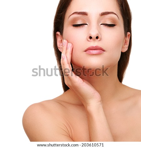 Healthy clean perfect woman face and hand skin. Spa female. Isolated closeup portrait - stock photo