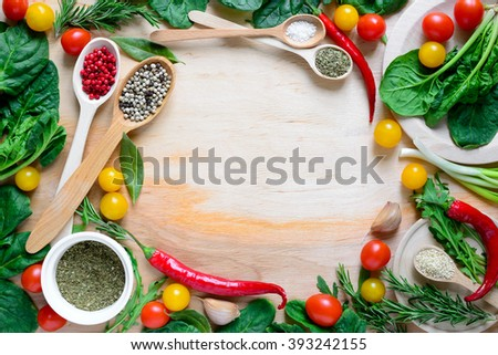 Healthy cooking concept or culinary background