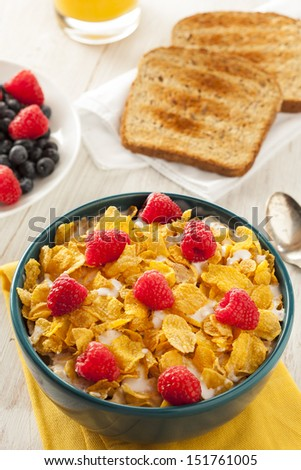 Healthy Cornflake Cereal for Breakfast with Berries - stock photo