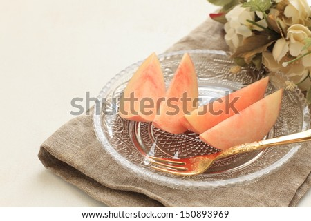 healthy dessert, freshness cut fruit Japanese peach on dish