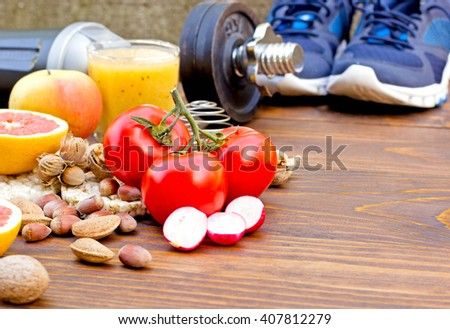 Healthy diet and sports activity to a healthy life - concept of health - stock photo