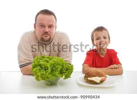 Healthy diet concept - teaching by example might be hard - stock photo