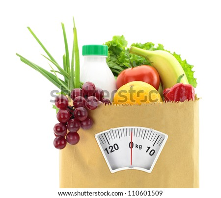 Healthy diet. Fresh food in a paper bag - stock photo