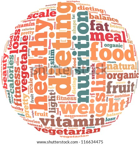 Healthy diet info-text graphics and arrangement concept on white background (word cloud) - stock photo