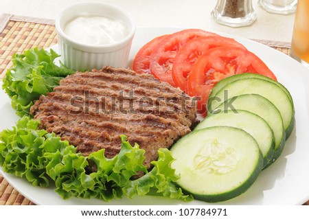 Healthy diet lunch with a grilled hamburger patty and vegetables - stock photo