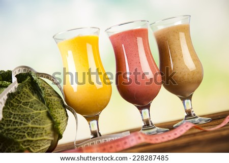 Healthy diet, protein shakes, sport - stock photo