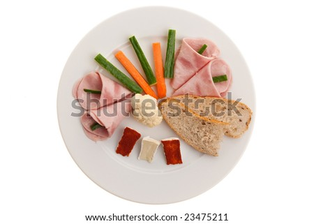 Healthy Dinner Plate With Veggies Cheese And Bread