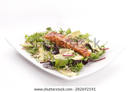 Healthy dinner with salmon and salads on white background - stock photo
