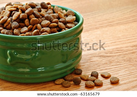 Healthy dog food in bowl on wood background with copy space.  Macro with shallow dof. - stock photo