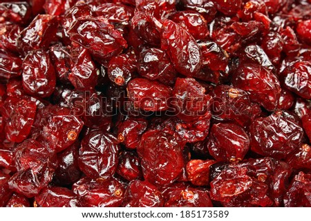 Healthy dried cranberries fruit background  - stock photo