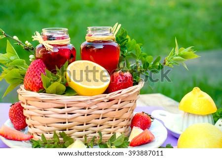 Healthy drink - juice (berry juice) - stock photo