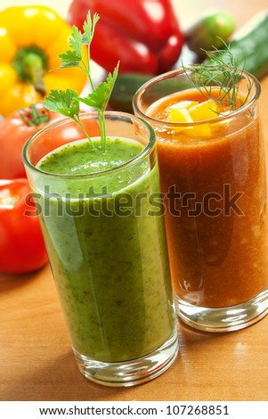 Healthy drink, vegetable juice, red and green