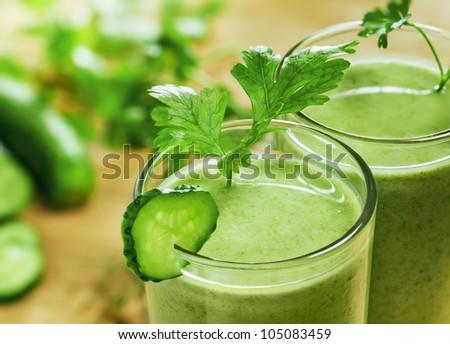 Healthy drink, vegetable juice, studio shot - stock photo