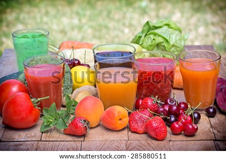 Healthy drinks freshly squeezed - stock photo