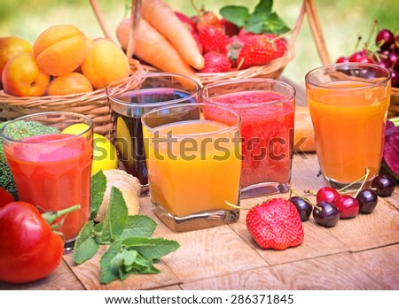 Healthy drinks - healthy beverages - stock photo