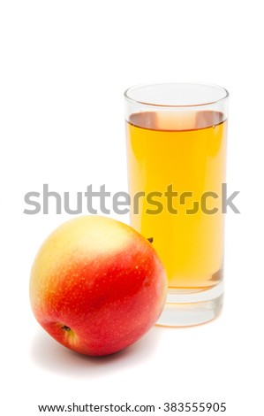 Healthy eating and a healthy lifestyle . Apple with a glass of apple juice on a white background isolated . - stock photo