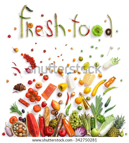 Healthy eating background / studio photography of different fruits and vegetables on white backdrop. Healthy food background, top view. High resolution product, - stock photo