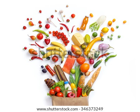 Healthy eating background / studio photography of different fruits and vegetables on white backdrop. Healthy food background, top view. High resolution product,