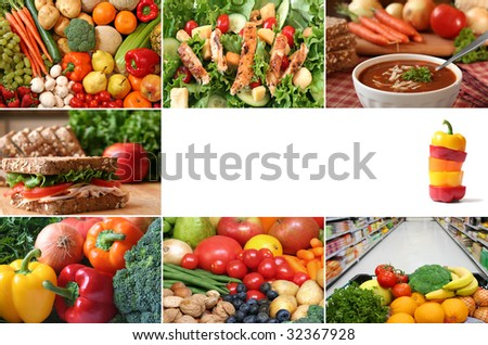 Healthy eating collage. Lots of fruits and vegetables, nuts and whole grains are included. - stock photo