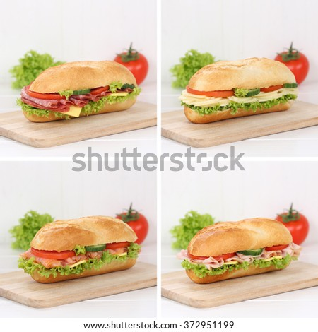 Healthy eating collection of sub deli sandwiches baguettes with salami ham, cheese, salmon fish tomatoes and lettuce for breakfast - stock photo