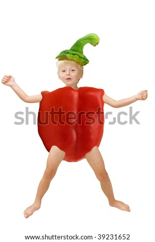 Healthy eating concept: child as a bell pepper. - stock photo
