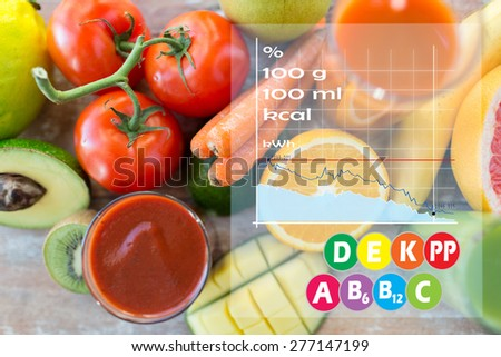 healthy eating, food and diet concept - close up of fresh juice glass and fruits on table with calories and vitamin chart - stock photo