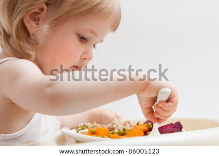 Healthy eating for a baby - stock photo