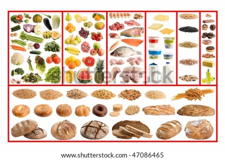 Healthy eating guide isolated on white background - stock photo