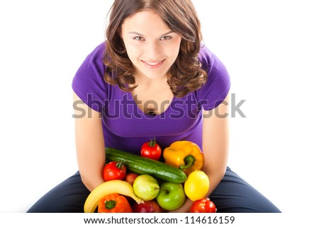 Healthy eating, happy woman with fruits and vegetables - stock photo