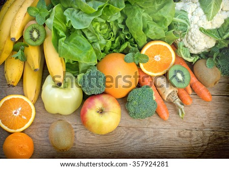Healthy eating - healthy food on table - on wooden background - stock photo