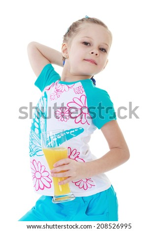 Healthy Eating is useful even for children.kindergarten, the concept of childhood and joy, teens - stock photo