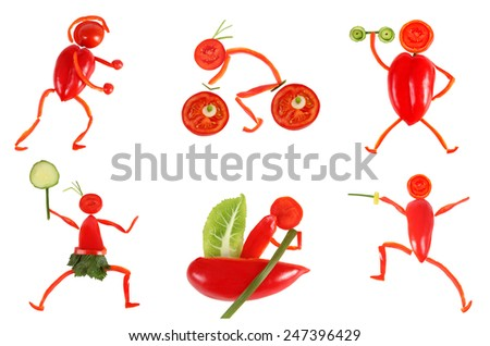 Healthy eating. Little funny people made of vegetables and fruits. - stock photo