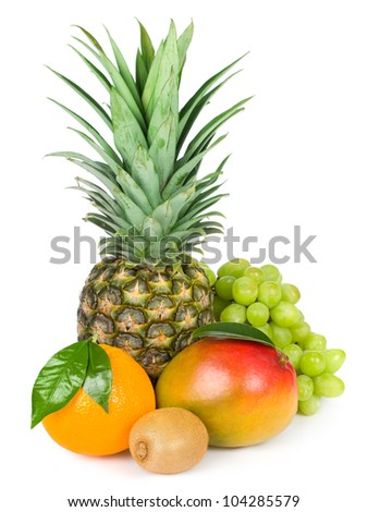 Healthy Eating. Organic raw fruit. Isolated over white background - stock photo