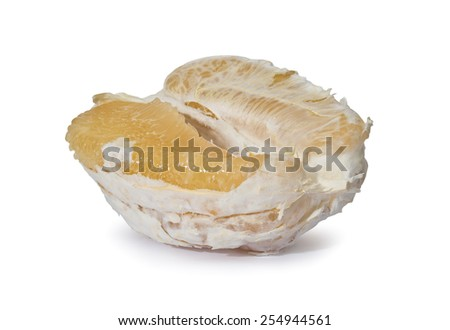 Healthy Eating. Peeled pomelo isolated on white background