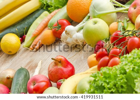 Healthy eating, proper diet - fresh organic fruits and vegetables - stock photo