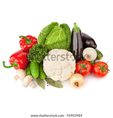 Healthy Eating. Seasonal organic raw vegetables. Isolated over white background - stock photo