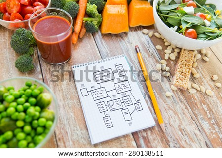 healthy eating, vegetarian food, advertisement and culinary concept - close up of ripe vegetables and notebook with scheme on wooden table - stock photo