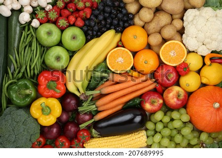 Healthy eating vegetarian fruits and vegetables as background - stock photo