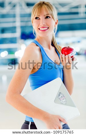 Healthy eating woman on a diet to lose weight - stock photo