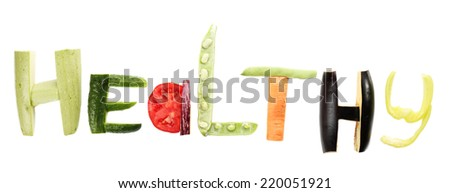 Healthy eating. Word Healthy made of vegetables, isolated on white - stock photo